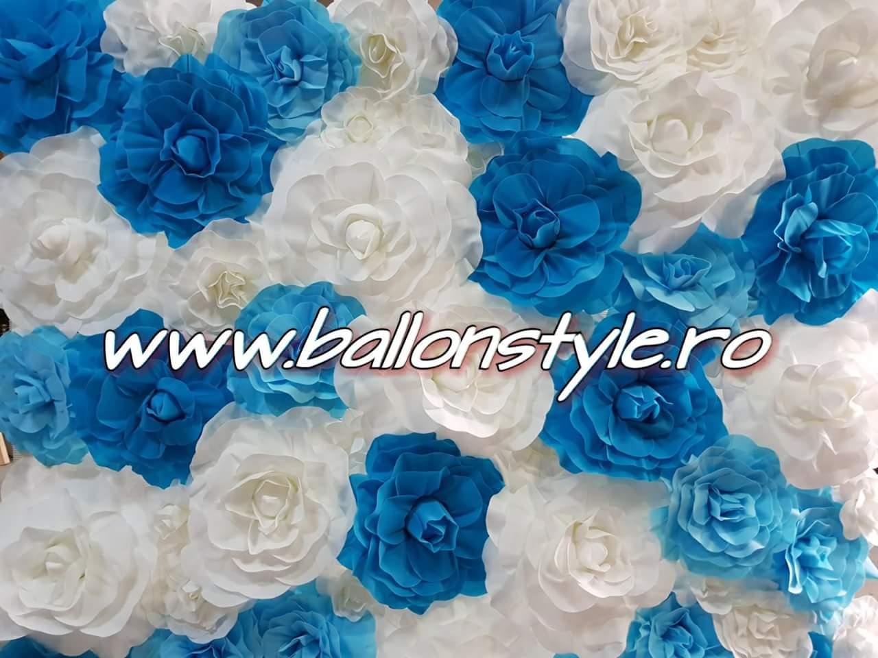 Panou Flori Artificiale Alb Albastru Decoratiuni Nunta Botez